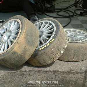 Warren's tyres after his exit into the gravel