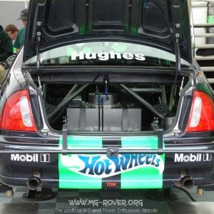 Rear view of the touring car