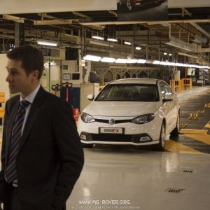 Guy Jones being interviewed in the MG6 Production area